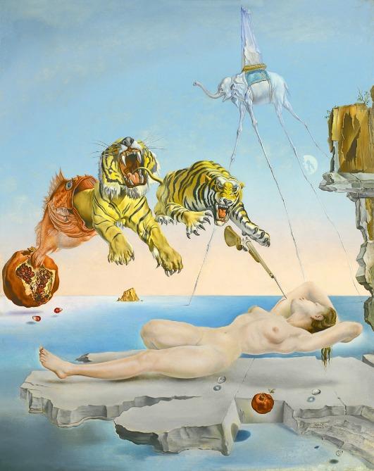 """Salvador Dali, """"Rêve causé par le vol d'une abeille autour d'une pomme-grenade  une seconde avant l'éveil"""", 1944"""