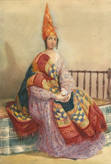 Crédit photo : La signare Emilie Mervins en 1843. https://www.senegalmetis.com