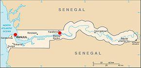 Points de traversée de la Gambie : Banjul ou Farafenni. Crédit image : Wikipedia
